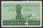 США 1959 год. 100 лет штату Орегон. Старинная повозка на фоне горы. 1 марка