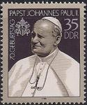 ГДР 1990 год. 70 лет со дня рождения Папы Иоанна Павла II. 1 марка