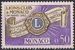 "Монако 1963 год. Годовщина создания ""Львиного клуба"" в Монако. 1 марка"