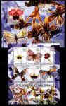 Гвинея-Бисау 2005 год. Цветы и бабочки (1). Малый лист + блок
