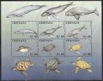 Гренада 1996 год. Киты и морские черепахи, малый лист