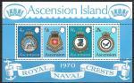 Остров Вознесения 1970 год. Эмблемы королевского флота, блок