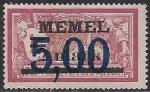 Германия Рейх (Мемель) 1922 год. НДП нового номинала (5 марок) на марке с номиналом 1 франк. 1 марка с наклейкой из серии