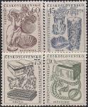 ЧССР 1956 год. Экспортная продукция ЧССР - керамика, стекло, текстиль, бижутерия. 4 марки