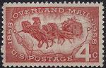США 1958 год. 100 лет почте города Оверленда. Конный экипаж. 1 марка