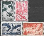 Франция 1946 год. статуи богов и самолеты. 4 марки. наклейки