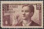 Франция 1938 год. Радио- устройства для слепых. 1 марка с наклейкой
