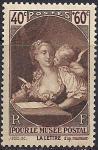 Франция 1939 год. Музей почты в Париже. Живопись. 1 марка с наклейкой