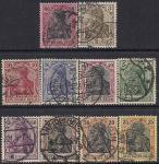 Германия (Рейх) 1905 год. Германия (III). Символ страны - женщина в кайзеровской короне. 10 гашёных марок