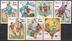 Лаос 1986 год. ЧМ по футболу в Мексике. 7 гашеных марок