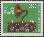ФРГ 1973 год. 50 лет радиовещанию в Германии. 1 марка