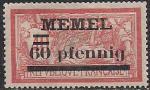 Германия Рейх (Мемель) 1922 год. НДП нового номинала (60 пфеннигов) на марке с номиналом 40 сантимов. 1 марка с наклейкой из серии