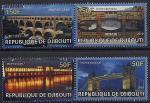 Джибути 2010 год. Знаменитые мосты Англии, Франции и Италии. 4 марки
