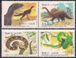 Бразилия 1991 год. Рептилии. Динозавры. 4 марки