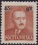Польша 1951 год. Президент Б. Берут (надпечатка нового номинала). 1 марка с наклейкой