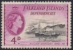 """Фолклендские острова 1954 год. Флот в истории освоения Антарктики. Корабль """"Вильям Скорсби"""". 1 марка из серии (н-л 4)"""