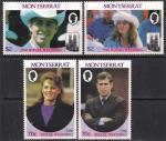 Монсеррат 1986 год. Принц Эндрю и Сара Фергюссон. 4 марки