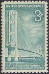 США 1958 год. Открытие моста Макинак в штате Мичиган. 1 марка