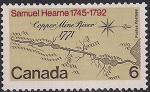 Канада 1971 год. 200 лет экспедиции Самуэля Хирна по реке Коппермайн. Карта-схема. 1 марка