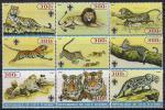 Кот дИвуар 2005 год. Хищные кошки -тигр, лев, ягуар, леопард. 9 марок