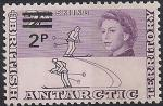 Британские Антарктические территории 1971 год. Исследование Антарктики. Лыжники. Надпечатка нового номинала.1 марка из серии (ном. 2)