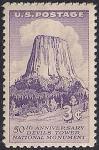 """США 1956 год. 50 лет природному памятнику """"Башня дьявола"""". 1 марка"""