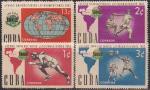Куба 1962 год. Первая латиноамериканская универсиада в Гаване. 4 марки с наклейкой
