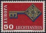 Лихтенштейн 1968 год. Европа СЕПТ. Эмблема в виде ключа.1 марка