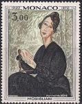 """Монако 1970 год. 50 лет со дня смерти художника Амадео Модиглиани. """"Портрет молодой женщины"""". 1 марка"""