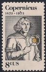 США 1973 год. 500 лет со дня рождения Н. Коперника. 1 марка