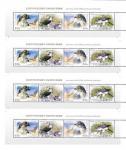 Корея 2014 год. Совместный выпуск Корея - Россия, хищные птицы, 2 полосных листа зуб. и беззуб.