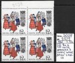СССР 1961 год, Эстонские народные костюмы, квартблок, разновидность