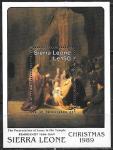 Сьерра Леоне 1989 год. Искусство. Картины Рембрандта, блок