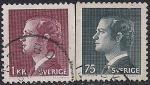 Швеция 1974 год. Король Карл XVI Густав (1, 75). 2 гашёные марки