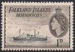 """Фолклендские острова 1954 год. Флот в истории освоения Антарктики. Корабль """"Трепасси"""". 1 марка из серии (н-л 1)"""