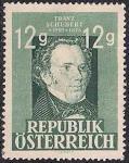 Австрия 1947 год. 150 лет со дня рождения Ф. Шуберта. 1 марка с наклейкой