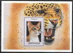 Гренада 1997 год. Породы кошек, блок