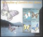 Замбия 2005 год. Африканские бабочки, малый лист