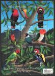 Сьерра-Леоне 2000 год. Попугаи, малый лист. (красные)