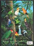 Сьерра-Леоне 2000 год. Попугаи, малый лист. (зелёные)