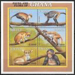 Гана 2000 год. Местная фауна, обезьяны, малый лист