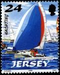 "Джерси (Великобритания) 1998 год. Катамаран ""Hobie - 16"". 1 марка из серии (ном. 24)"