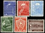 Болгария 1935 год. Конкурс федерации спорта ЮНАК в Софии. 6 марок с наклейкой