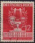Германия. Рейх 1941 год. Театральные маски. Лира (ном.12 пф). 1 гашеная марка из серии