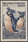 Французские антарктические территории 1956 год. Пингвины (ном. 1). из серии. наклейка