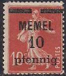 Германия Рейх (Мемель) 1922 год. НДП нового номинала (10 пфеннигов) на марке с номиналом 10 сантимов. 1 марка с наклейкой  из серии