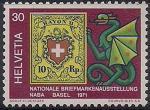 Швейцария 1971 год. Филвыставка в Базеле. Герб, дракон. 1 марка из серии (ном. 30)