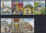 Бутан 1991 год. Чудеса Света с персонажами У. Диснея. 7 марок (Ю)