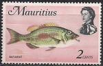Маврикий 1969 год. Рыба-император (ном. 2). 1 марка из серии