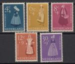 Нидерланды 1958 год. Национальные костюмы, 5 марок